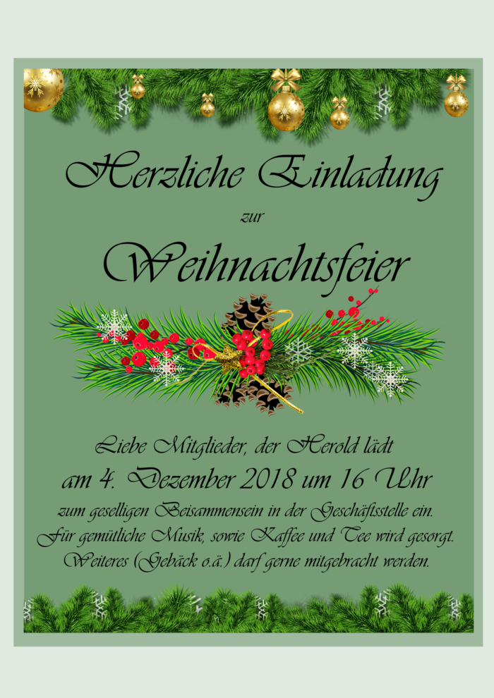 Einladung Weihnachtsfeier Verein.Weihnachtsfeier 2018 Herold